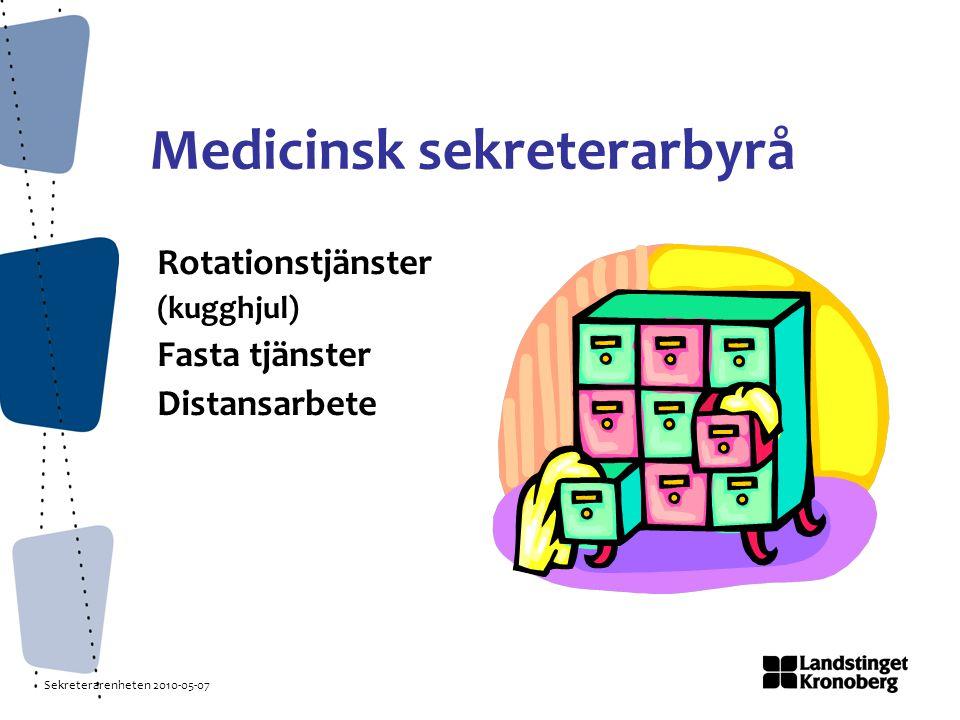 Sekreterarenheten 2010-05-07 Medicinsk sekreterarbyrå Rotationstjänster (kugghjul) Fasta tjänster Distansarbete
