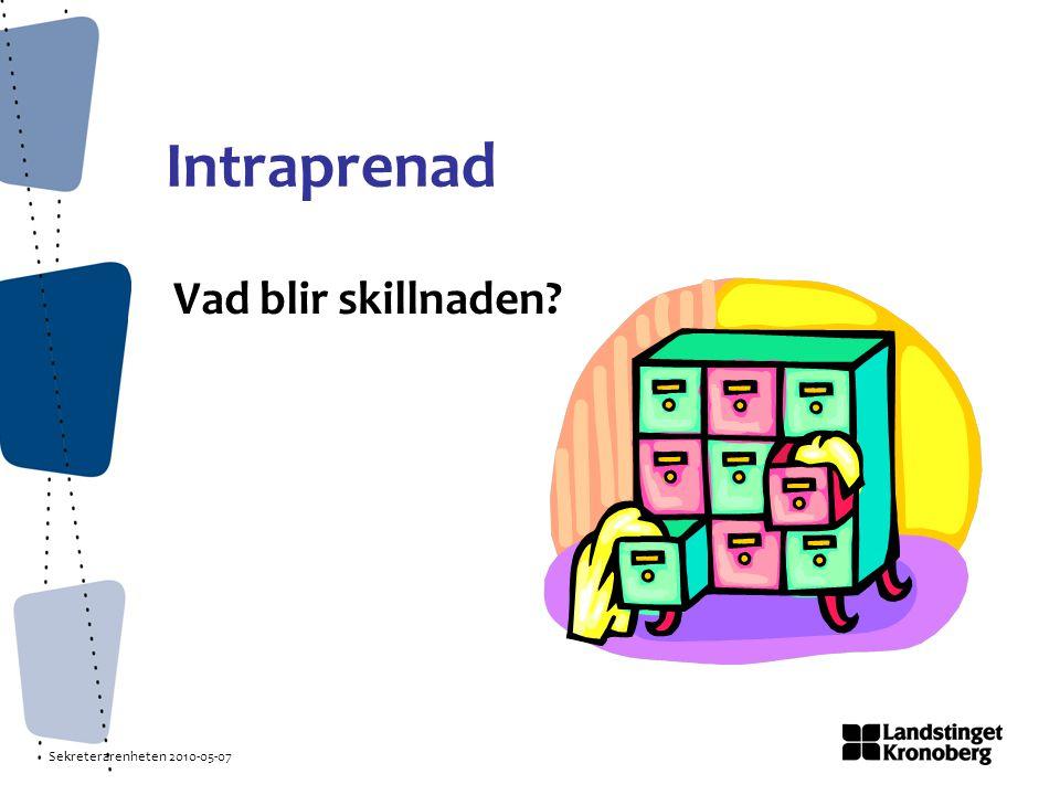 Sekreterarenheten 2010-05-07 Intraprenad Vad blir skillnaden