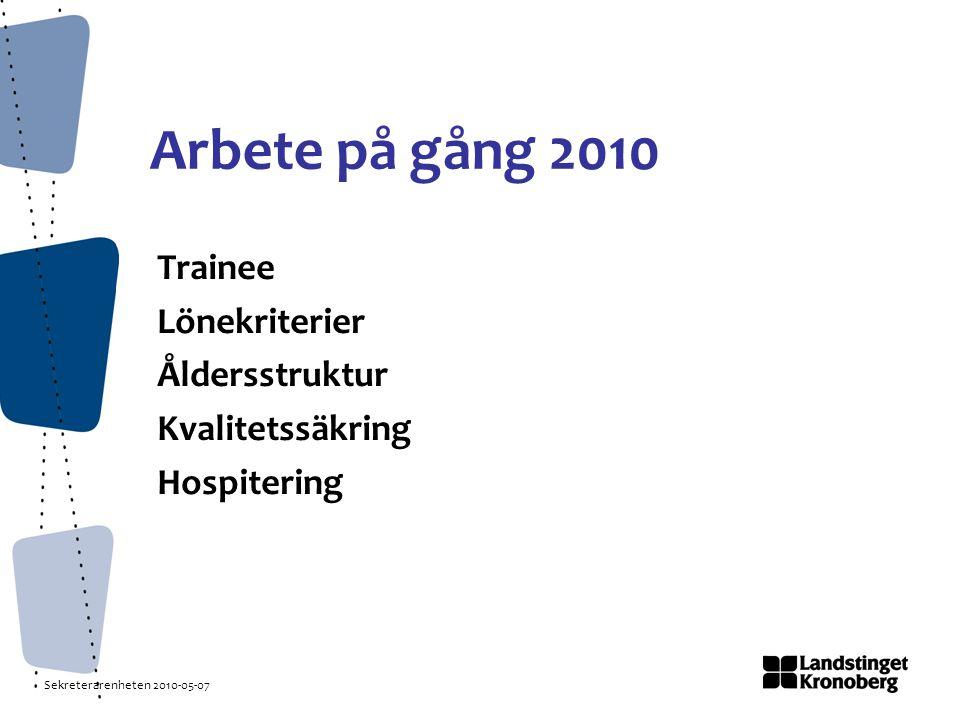 Sekreterarenheten 2010-05-07 Arbete på gång 2010 Trainee Lönekriterier Åldersstruktur Kvalitetssäkring Hospitering