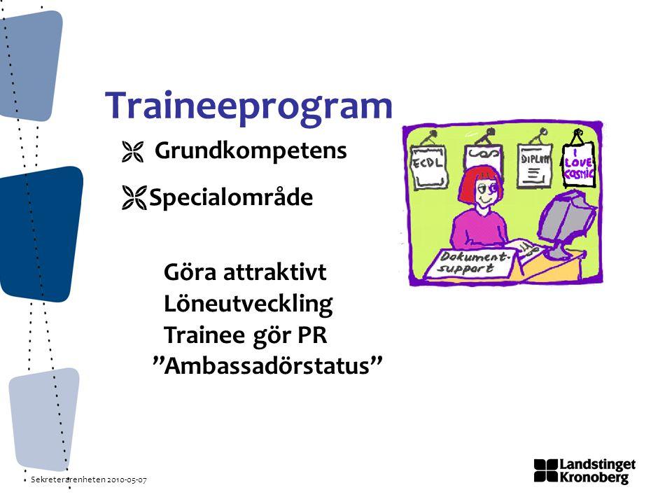 Sekreterarenheten 2010-05-07 Traineeprogram  Grundkompetens  Specialområde Göra attraktivt Löneutveckling Trainee gör PR Ambassadörstatus