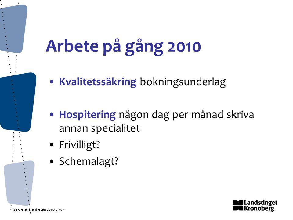 Sekreterarenheten 2010-05-07 Arbete på gång 2010 Kvalitetssäkring bokningsunderlag Hospitering någon dag per månad skriva annan specialitet Frivilligt.