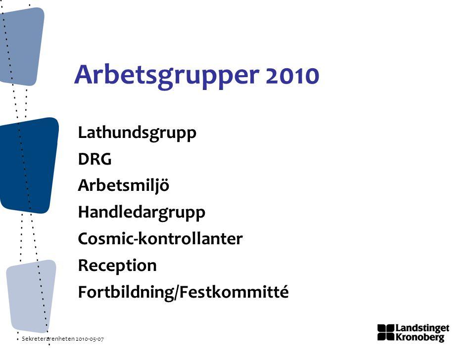 Sekreterarenheten 2010-05-07 Arbetsgrupper 2010 Lathundsgrupp DRG Arbetsmiljö Handledargrupp Cosmic-kontrollanter Reception Fortbildning/Festkommitté