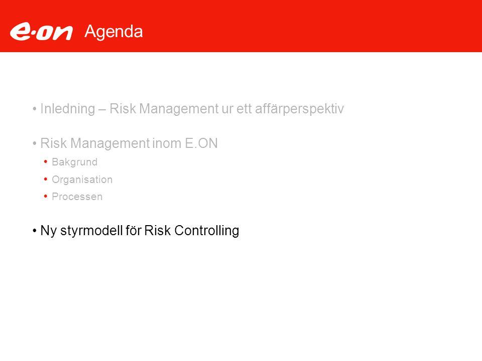 Agenda Inledning – Risk Management ur ett affärperspektiv Risk Management inom E.ON  Bakgrund  Organisation  Processen Ny styrmodell för Risk Contr