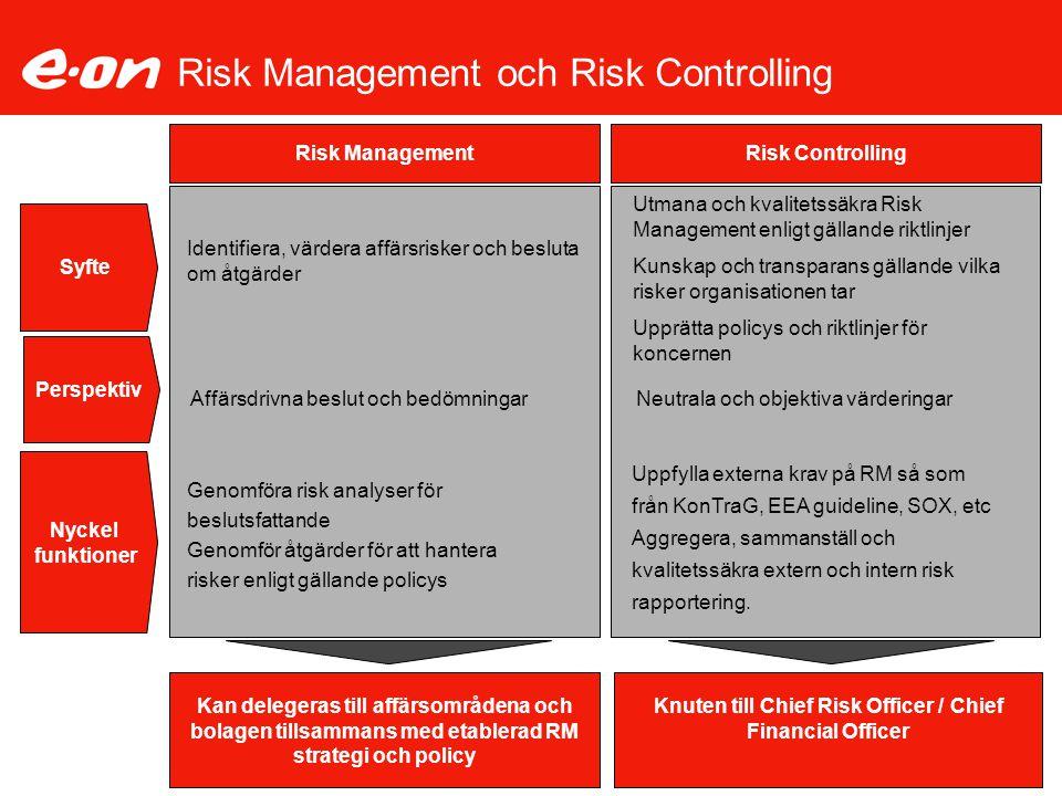 Risk Management och Risk Controlling Syfte Risk Management Risk Controlling Identifiera, värdera affärsrisker och besluta om åtgärder Utmana och kvali