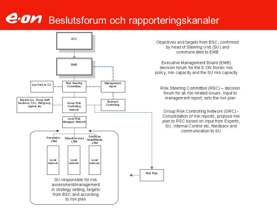 Beslutsforum och rapporteringskanaler