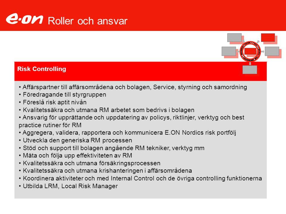Roller och ansvar Risk Controlling Affärspartner till affärsområdena och bolagen, Service, styrning och samordning Föredragande till styrgruppen Föres