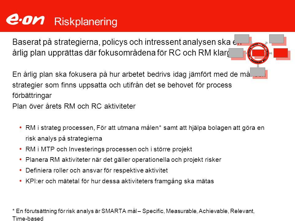 Riskplanering Baserat på strategierna, policys och intressent analysen ska en årlig plan upprättas där fokusområdena för RC och RM klargörs En årlig p