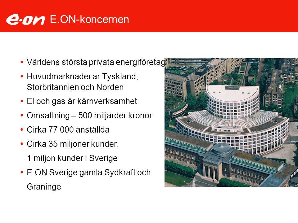 E.ON-koncernen  Världens största privata energiföretag  Huvudmarknader är Tyskland, Storbritannien och Norden  El och gas är kärnverksamhet  Omsät