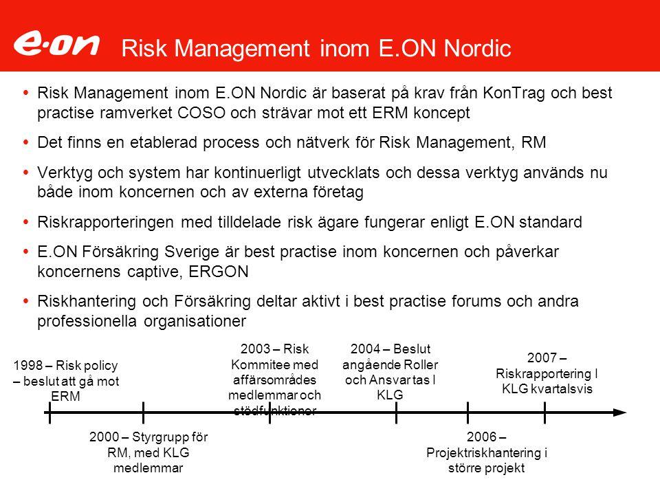 Risk Policy Risk Policy ska innehålla:  Risk Maturity Level – E.ONs ambition i ERM – engagemang från KLG  Intressenters förväntningar  Vision, syfte och processer för RM/RC  Värde skapande tillgångar  Risk kapacitet (gräns för hur mycket en organisation kan riskera)  Risk aptiten (gräns för hur mycket en organisation kan förlora – uppdelat på affärsområden)  Relevanta ramverk, lagar, direktiv, regler, koder  Nyckel RM terminologi (ISO standard)  Åtagande om ständig förbättring