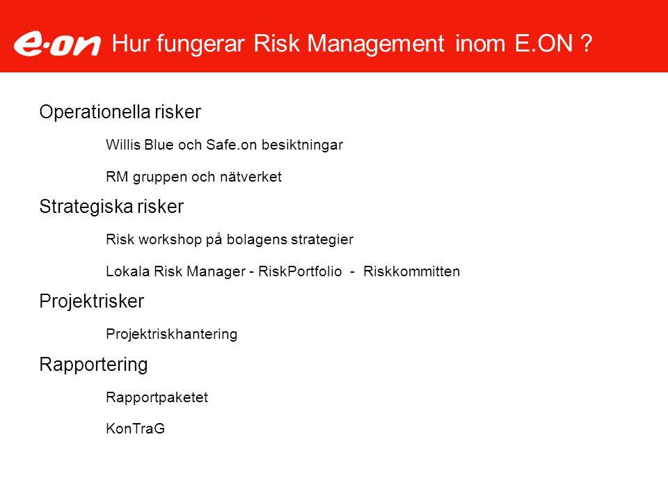 Hur fungerar Risk Management inom E.ON ? Operationella risker Willis Blue och Safe.on besiktningar RM gruppen och nätverket Strategiska risker Risk wo