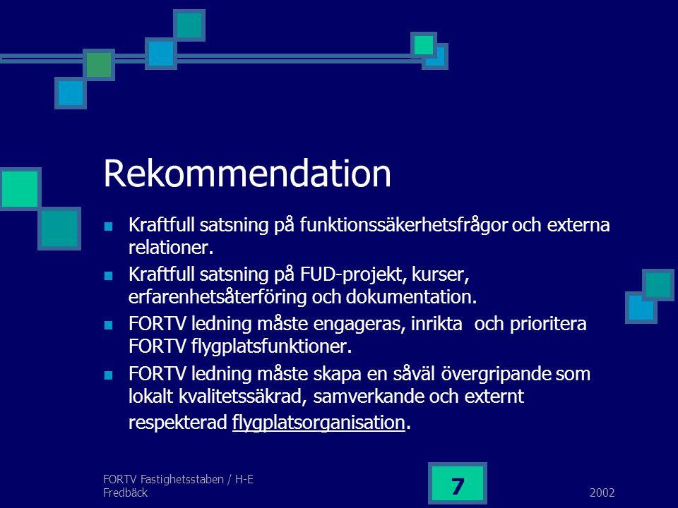 2002 FORTV Fastighetsstaben / H-E Fredbäck 7 Rekommendation Kraftfull satsning på funktionssäkerhetsfrågor och externa relationer.