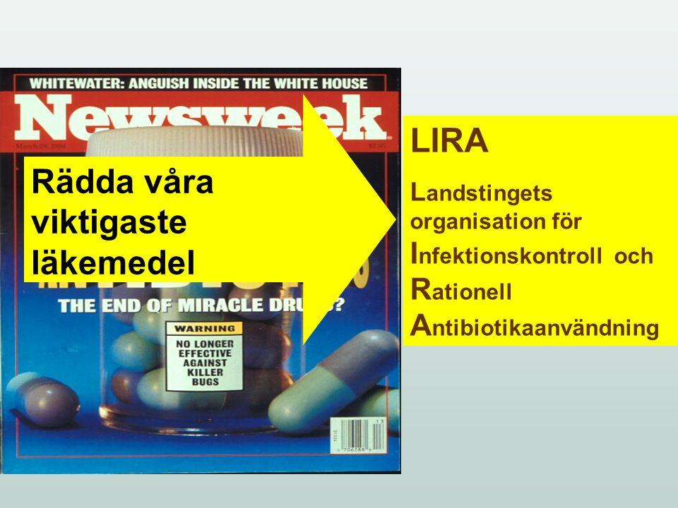 LIRAs uppkomst Lokal STRAMA –grupp MRSA-utbrott 2005/2006 Styrgrupp (chefsläkare, chöl inf, hygien, smittskydd m.