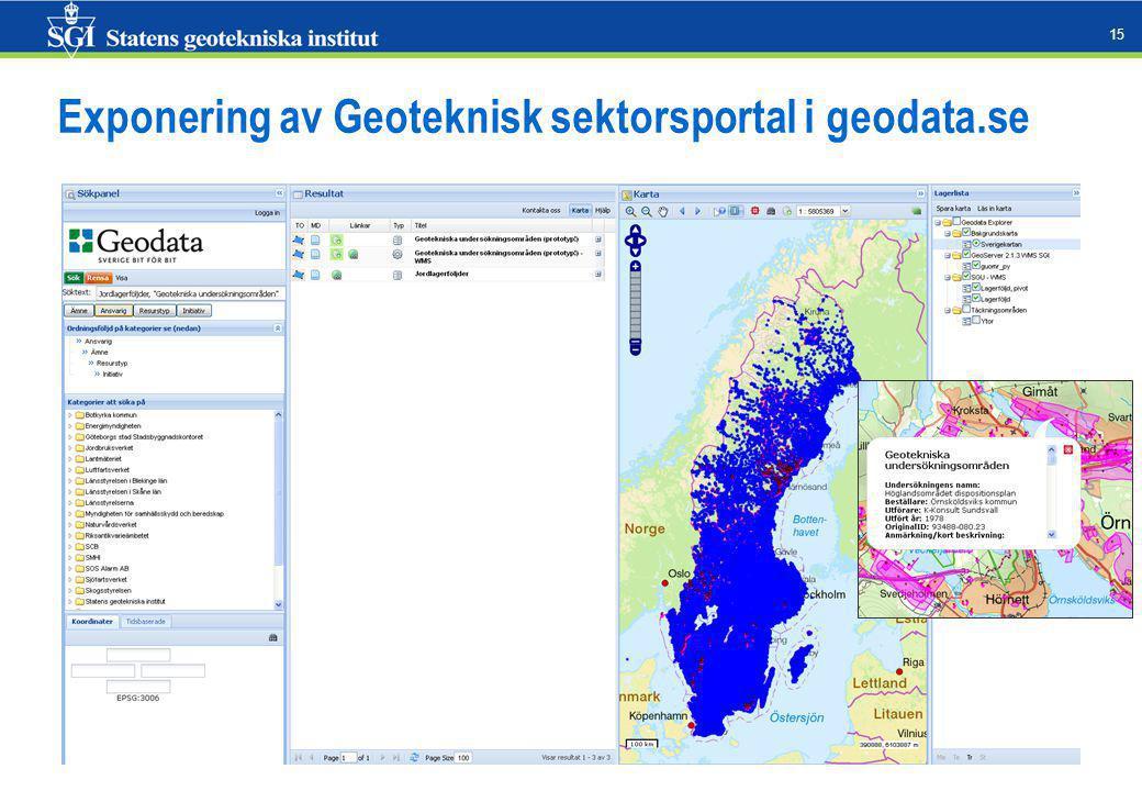 15 Exponering av Geoteknisk sektorsportal i geodata.se