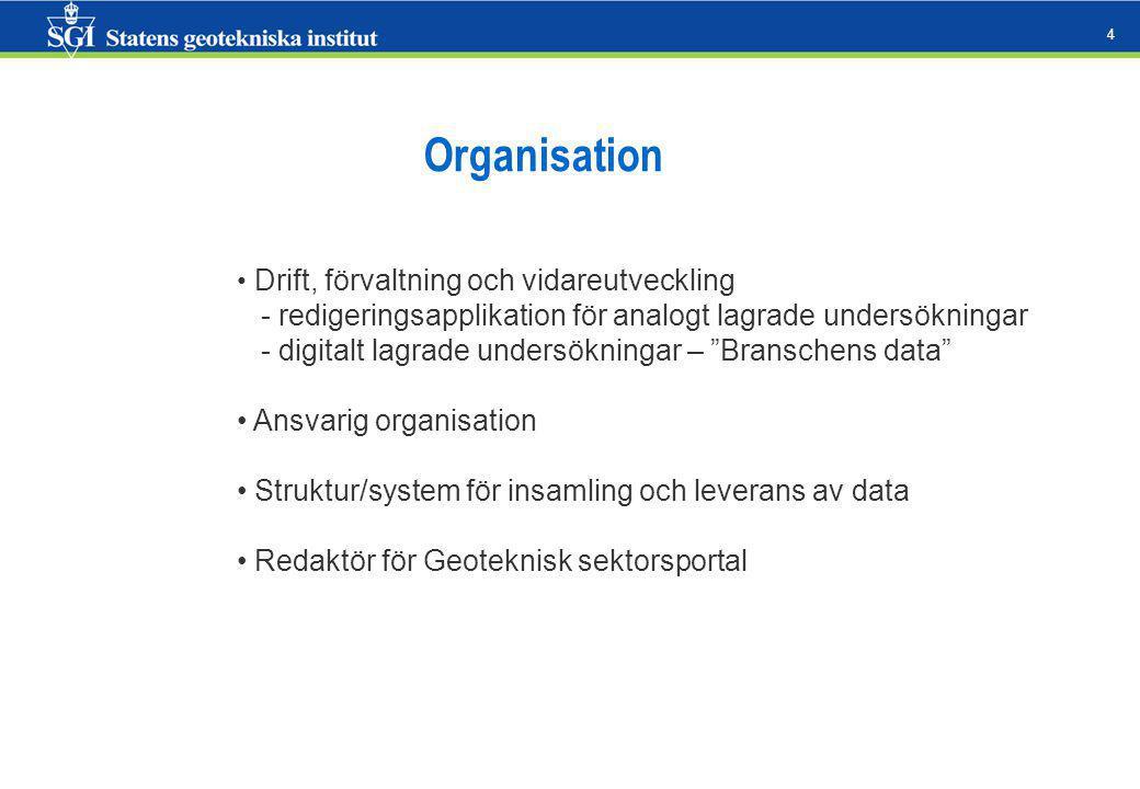 4 Organisation Drift, förvaltning och vidareutveckling - redigeringsapplikation för analogt lagrade undersökningar - digitalt lagrade undersökningar – Branschens data Ansvarig organisation Struktur/system för insamling och leverans av data Redaktör för Geoteknisk sektorsportal