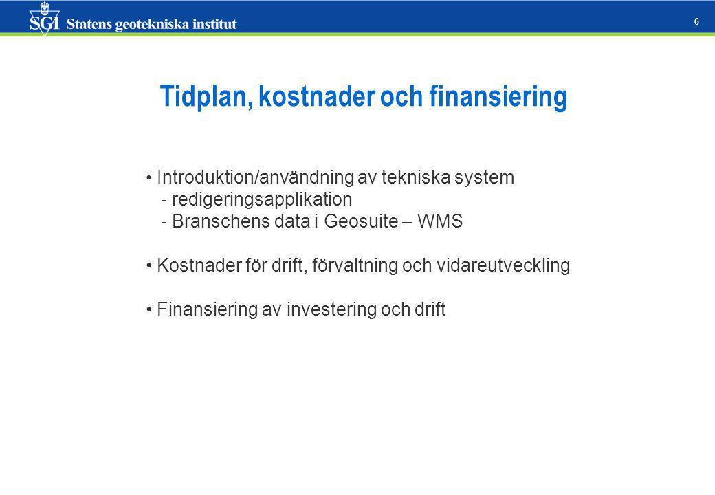 6 Tidplan, kostnader och finansiering Introduktion/användning av tekniska system - redigeringsapplikation - Branschens data i Geosuite – WMS Kostnader för drift, förvaltning och vidareutveckling Finansiering av investering och drift