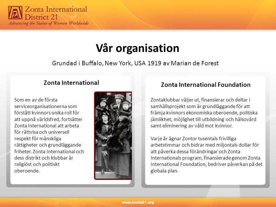 Vår organisation Zonta International Zonta International Foundation Zontaklubbar väljer ut, finansierar och deltar i samhällsprojekt som är grundläggande för att främja kvinnors ekonomiska oberoende, politiska jämlikhet, möjlighet till utbildning och hälsovård samt eliminering av våld mot kvinnor.
