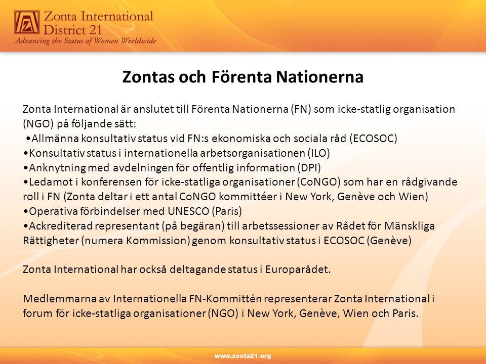 Zontas och Förenta Nationerna Zonta International är anslutet till Förenta Nationerna (FN) som icke-statlig organisation (NGO) på följande sätt: Allmänna konsultativ status vid FN:s ekonomiska och sociala råd (ECOSOC) Konsultativ status i internationella arbetsorganisationen (ILO) Anknytning med avdelningen för offentlig information (DPI) Ledamot i konferensen för icke-statliga organisationer (CoNGO) som har en rådgivande roll i FN (Zonta deltar i ett antal CoNGO kommittéer i New York, Genève och Wien) Operativa förbindelser med UNESCO (Paris) Ackrediterad representant (på begäran) till arbetssessioner av Rådet för Mänskliga Rättigheter (numera Kommission) genom konsultativ status i ECOSOC (Genève) Zonta International har också deltagande status i Europarådet.