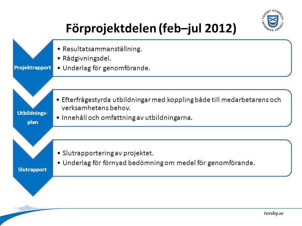 Förprojektdelen (feb–jul 2012) Projektrapport Resultatsammanställning.
