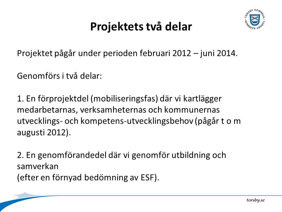 Projektets två delar Projektet pågår under perioden februari 2012 – juni 2014.