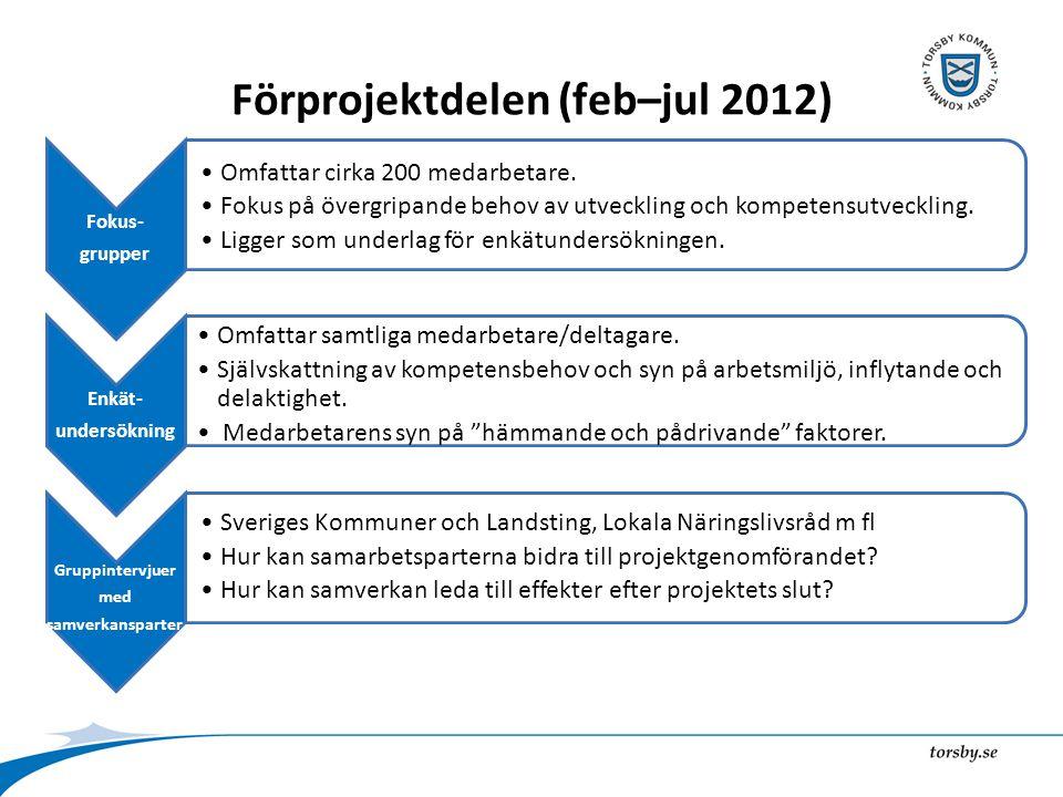 Förprojektdelen (feb–jul 2012) Fokus- grupper Omfattar cirka 200 medarbetare.