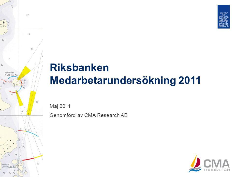 Riksbanken Medarbetarundersökning 2011, sid 1 Fakta om undersökningen Metod Webbenkät utskickad till 347 medarbetare på Riksbanken.