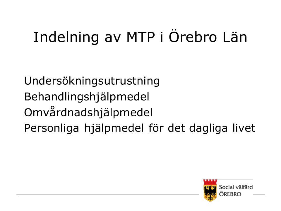 Indelning av MTP i Örebro Län Undersökningsutrustning Behandlingshjälpmedel Omvårdnadshjälpmedel Personliga hjälpmedel för det dagliga livet