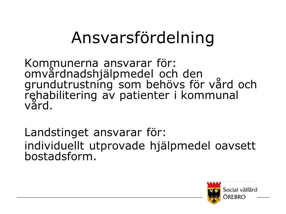 Ansvarsfördelning Kommunerna ansvarar för: omvårdnadshjälpmedel och den grundutrustning som behövs för vård och rehabilitering av patienter i kommunal