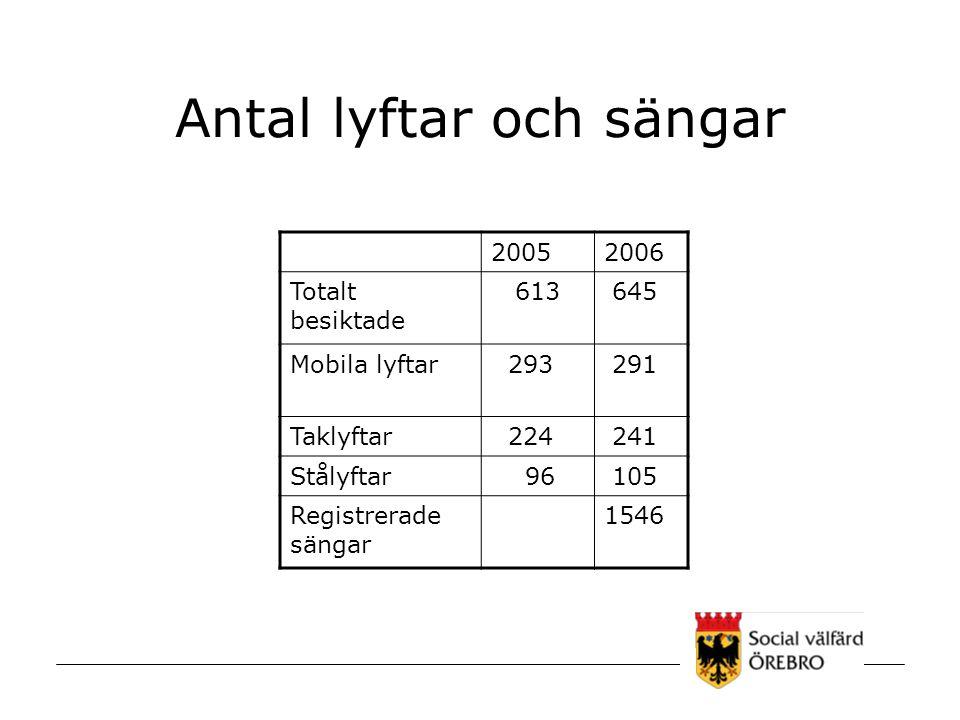 Antal lyftar och sängar 20052006 Totalt besiktade 613 645 Mobila lyftar 293 291 Taklyftar 224 241 Stålyftar 96 105 Registrerade sängar 1546