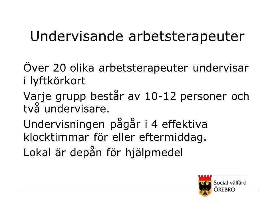 Undervisande arbetsterapeuter Över 20 olika arbetsterapeuter undervisar i lyftkörkort Varje grupp består av 10-12 personer och två undervisare. Underv