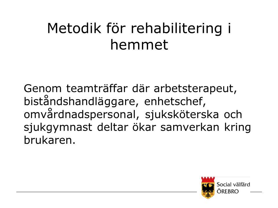 Metodik för rehabilitering i hemmet Genom teamträffar där arbetsterapeut, biståndshandläggare, enhetschef, omvårdnadspersonal, sjuksköterska och sjukg