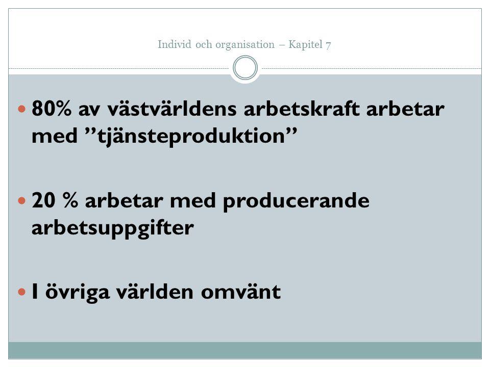 """Individ och organisation – Kapitel 7 80% av västvärldens arbetskraft arbetar med """"tjänsteproduktion"""" 20 % arbetar med producerande arbetsuppgifter I ö"""