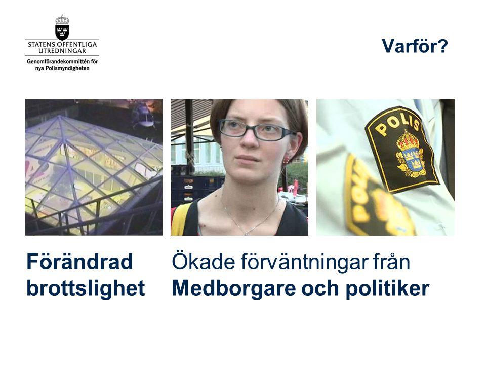 Förändrad brottslighet Varför? Ökade förväntningar från Medborgare och politiker