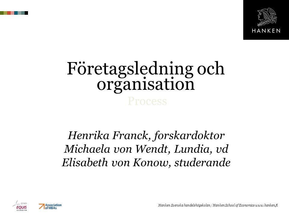 Företagsledning och organisation Process Henrika Franck, forskardoktor Michaela von Wendt, Lundia, vd Elisabeth von Konow, studerande Hanken Svenska h