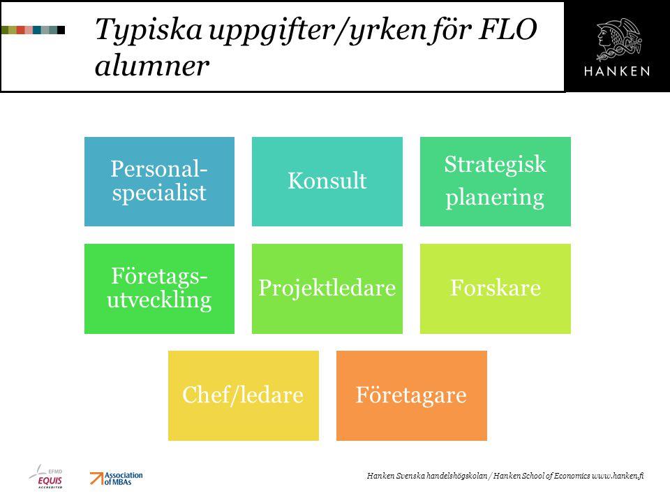 Typiska uppgifter/yrken för FLO alumner Personal- specialist Konsult Strategisk planering Företags- utveckling ProjektledareForskare Chef/ledareFöreta