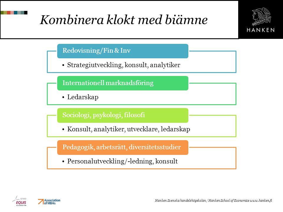 Kombinera klokt med biämne Hanken Svenska handelshögskolan / Hanken School of Economics www.hanken.fi Strategiutveckling, konsult, analytiker Redovisn