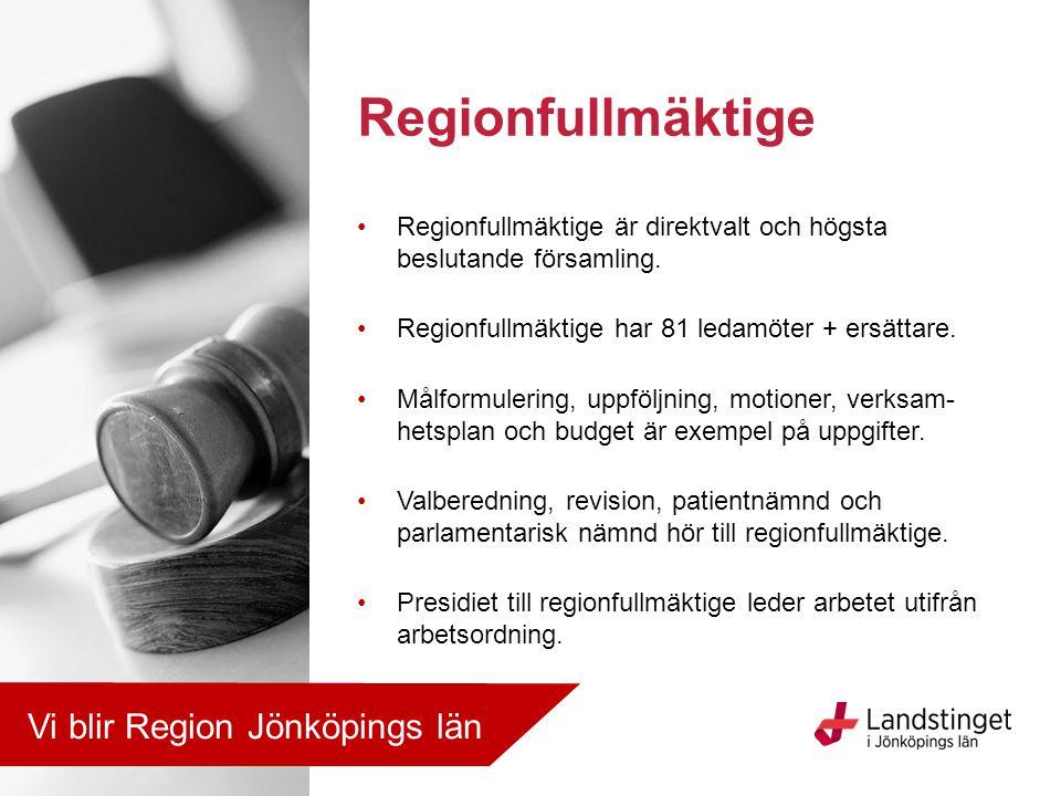 Regionfullmäktige är direktvalt och högsta beslutande församling. Regionfullmäktige har 81 ledamöter + ersättare. Målformulering, uppföljning, motione