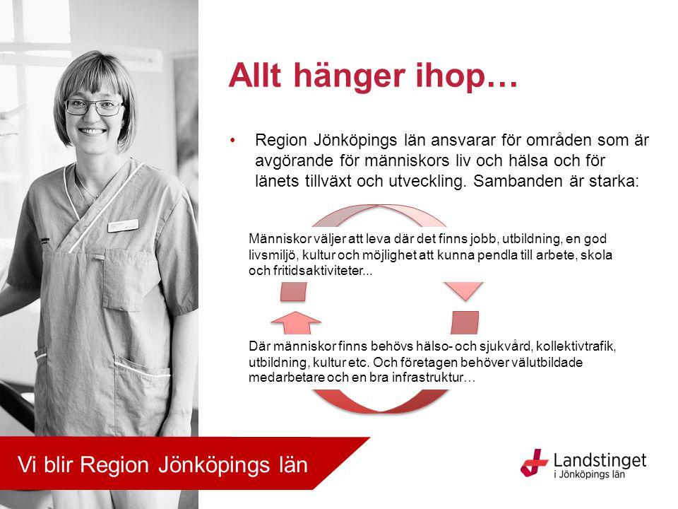 Allt hänger ihop… Region Jönköpings län ansvarar för områden som är avgörande för människors liv och hälsa och för länets tillväxt och utveckling. Sam