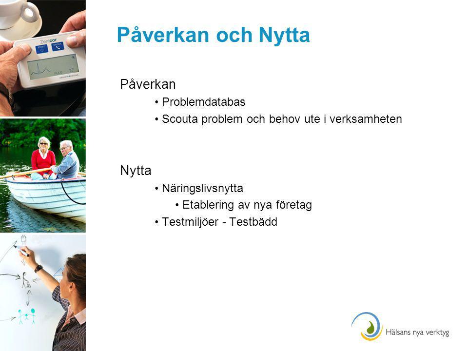 Påverkan och Nytta Påverkan Problemdatabas Scouta problem och behov ute i verksamheten Nytta Näringslivsnytta Etablering av nya företag Testmiljöer - Testbädd