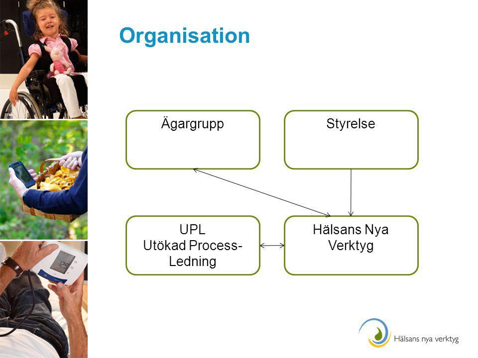 Organisation ÄgargruppStyrelse Hälsans Nya Verktyg UPL Utökad Process- Ledning