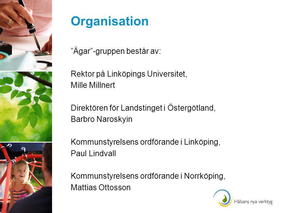 Organisation Ägar -gruppen består av: Rektor på Linköpings Universitet, Mille Millnert Direktören för Landstinget i Östergötland, Barbro Naroskyin Kommunstyrelsens ordförande i Linköping, Paul Lindvall Kommunstyrelsens ordförande i Norrköping, Mattias Ottosson