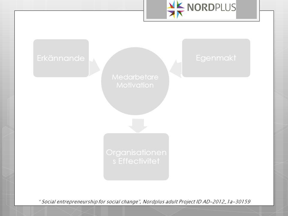 "Medarbetare Motivation Erkännande Organisationen s Effectivitet Egenmakt "" Social entrepreneurship for social change"", Nordplus adult Project ID AD-20"