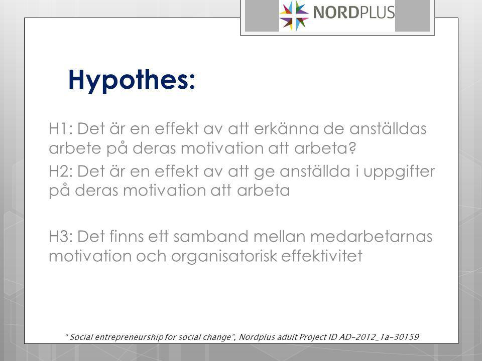 Hypothes: H1: Det är en effekt av att erkänna de anställdas arbete på deras motivation att arbeta.