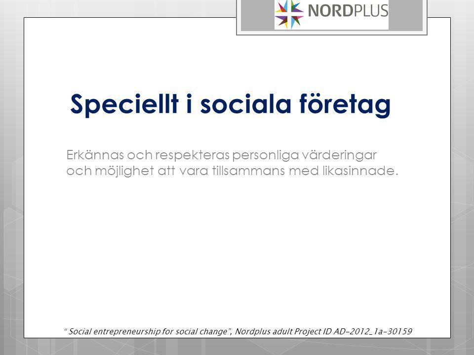 Mdearbetarnas Motivation Organisationens Effectivitet Social entrepreneurship for social change , Nordplus adult Project ID AD-2012_1a-30159