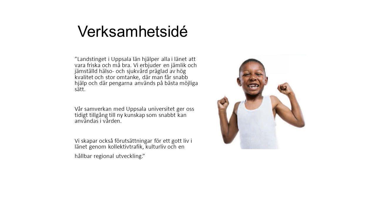 """Verksamhetsidé """"Landstinget i Uppsala län hjälper alla i länet att vara friska och må bra. Vi erbjuder en jämlik och jämställd hälso- och sjukvård prä"""