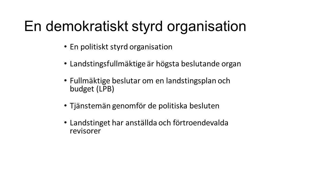 En demokratiskt styrd organisation En politiskt styrd organisation Landstingsfullmäktige är högsta beslutande organ Fullmäktige beslutar om en landsti