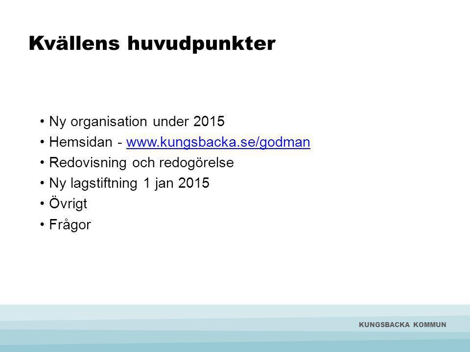 Kvällens huvudpunkter Ny organisation under 2015 Hemsidan - www.kungsbacka.se/godmanwww.kungsbacka.se/godman Redovisning och redogörelse Ny lagstiftning 1 jan 2015 Övrigt Frågor KUNGSBACKA KOMMUN
