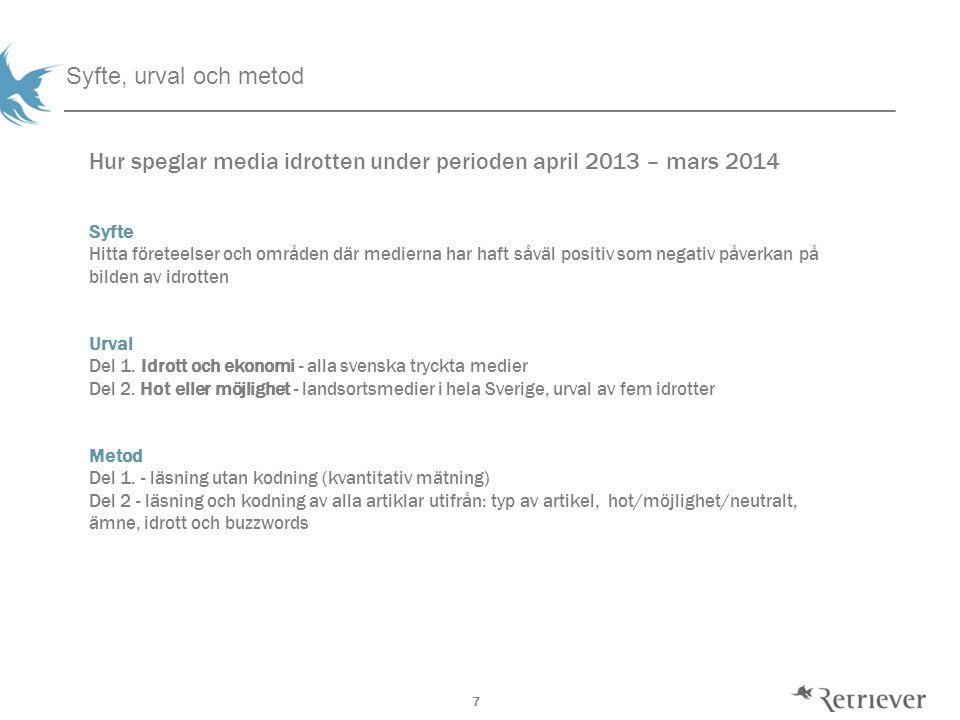 7 Syfte, urval och metod Hur speglar media idrotten under perioden april 2013 – mars 2014 Syfte Hitta företeelser och områden där medierna har haft såväl positiv som negativ påverkan på bilden av idrotten Urval Del 1.