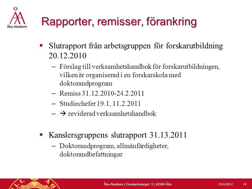 Rapporter, remisser, förankring  Slutrapport från arbetsgruppen för forskarutbildning 20.12.2010 –Förslag till verksamhetshandbok för forskarutbildni