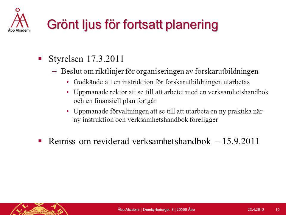 Grönt ljus för fortsatt planering  Styrelsen 17.3.2011 –Beslut om riktlinjer för organiseringen av forskarutbildningen Godkände att en instruktion fö
