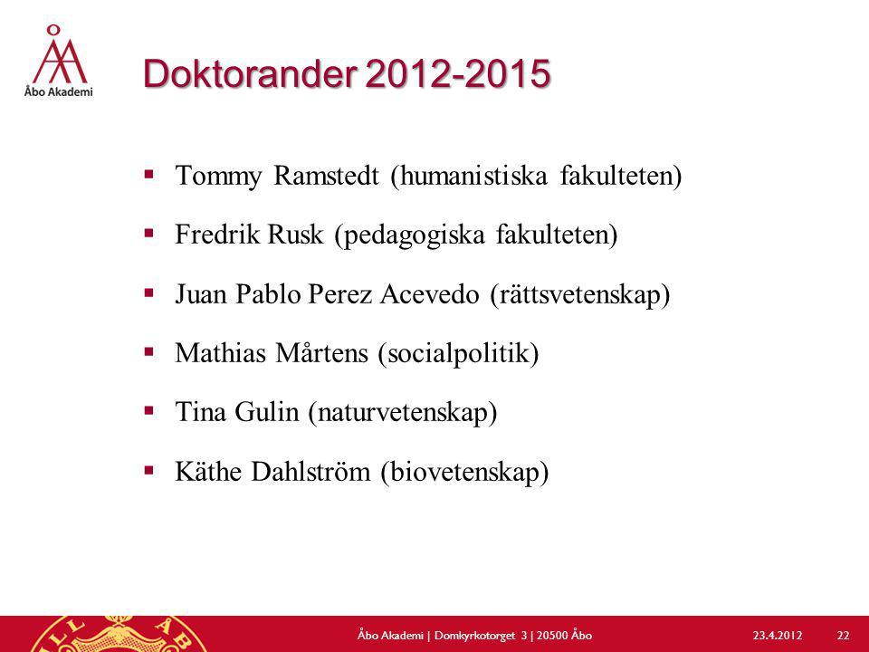 Doktorander 2012-2015  Tommy Ramstedt (humanistiska fakulteten)  Fredrik Rusk (pedagogiska fakulteten)  Juan Pablo Perez Acevedo (rättsvetenskap) 